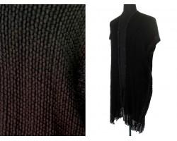 Black Gray Stripped Woven Tassel Poncho