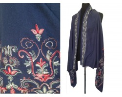 Montana Blue Embroidered Border Sleeveless Cardigan