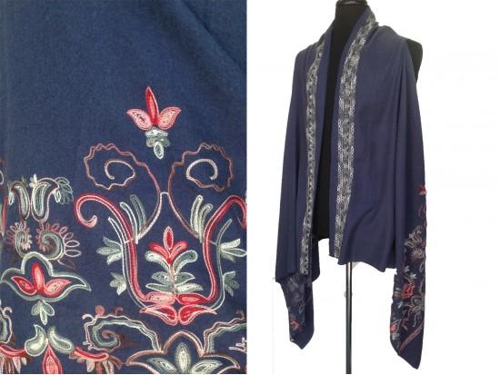 Montana Blue Embroidered Border Sleeveless Cardigan