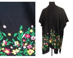 Black Embroidery Base 2 Hole Kimono