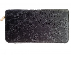 Gray Embossed Floral Pattern Velvet Wallet