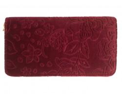 Maroon Embossed Floral Pattern Velvet Wallet