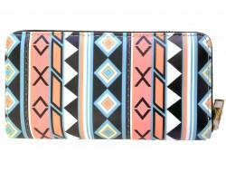 Peach Black Turquoise Tribal Pattern Zipper Wallet