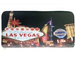 Black Multi Las Vegas Strip Sign Zipper Wallet