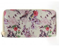 White Pink Small Floral Roses Zipper Wallet