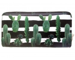 Black White Green Cactus Zipper Wallet