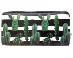 Black White Green Cactus Zipper Wallet