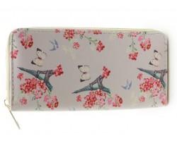 Beige Pink Gray Eiffel Tower Flowers Zipper Wallet
