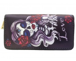 Black White Red  DAY OF THE DEAD Lady Zipper Wallet