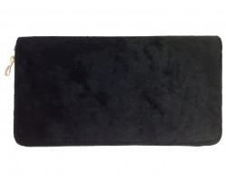 Black Velvet Zipper Wallet