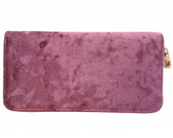 Purple Velvet Zipper Wallet