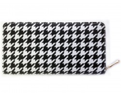 Black White Hounds Tooth Print Zipper Wallet