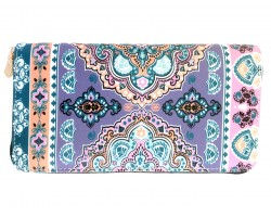 Multi Light Pink Gray Paisleys Zipper Wallet
