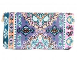 Multi Light Pink Gray Paisleys Zipper Wallet