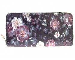 Black Purple White Rose And Flowers Zipper Wallet