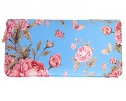 Light Blue Large Pink Rose Zipper Wallet