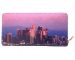 Pink Multi LA Downtown Sky Scrapers Zipper Wallet