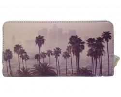 Beige Gray Las Angeles Palm Trees Zipper Wallet