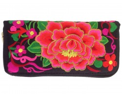 Red Cabbage Rose Embroidery Zipper Wallet