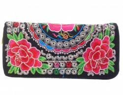 Red Green Black Embroidery Roses Zipper Wallet