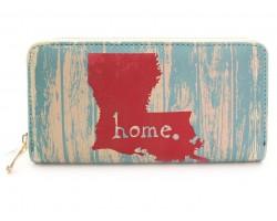 Turquoise Louisiana Map Home Zipper Wallet