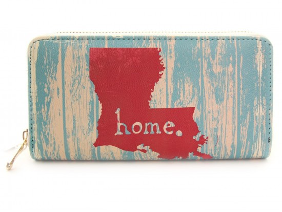 Turquoise Louisiana Map Home Zipper Wallet