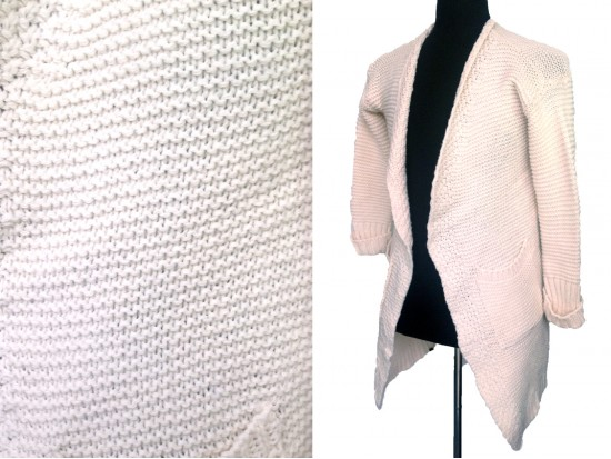 Beige Long Sleeved Pocketed Long Cardigan