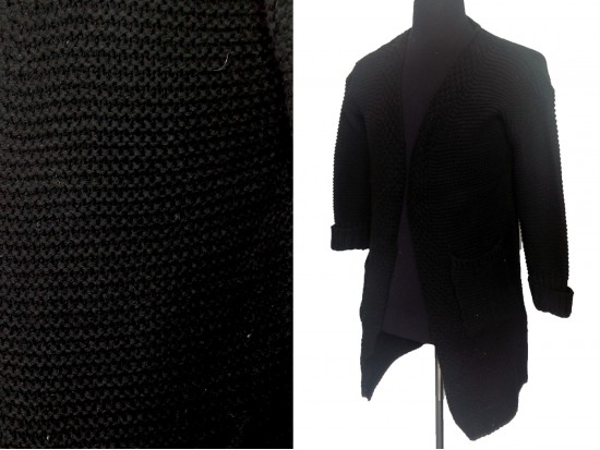 Black Long Sleeved Pocketed Long Cardigan