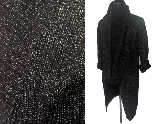 Black Long Sleeved Ross Collar Pocket Cardigan