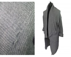 Gray Long Sleeved Ross Collar Pocket Cardigan
