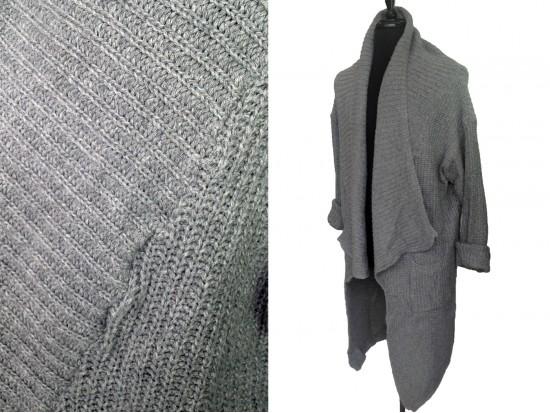 Gray Long Sleeved Ross Collar Pocket Cardigan