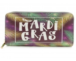 Mardi Gras Leaves Zipper Wallet