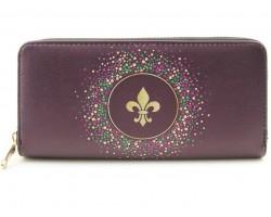 Mardi Gras Fleur De Li Zipper Wallet