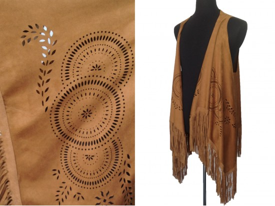 Brown Western Fringe Suede Sleeveless Cardigan