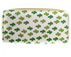 Green Cactus Pattern Zipper Wallet