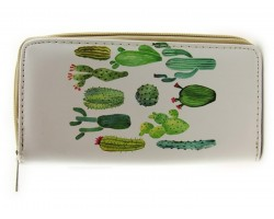 Green Cacti Zipper Wallet