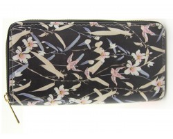 Black Multi Floral Pattern Zipper Walle