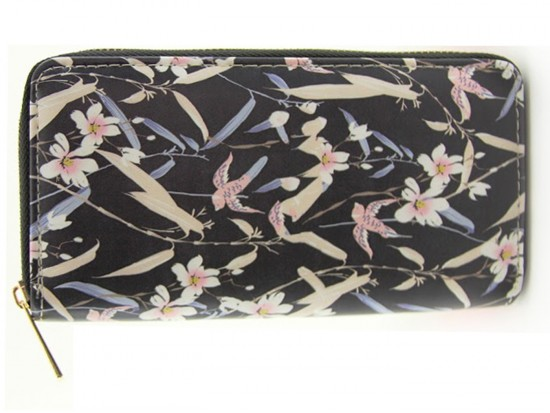 Black Multi Floral Pattern Zipper Walle