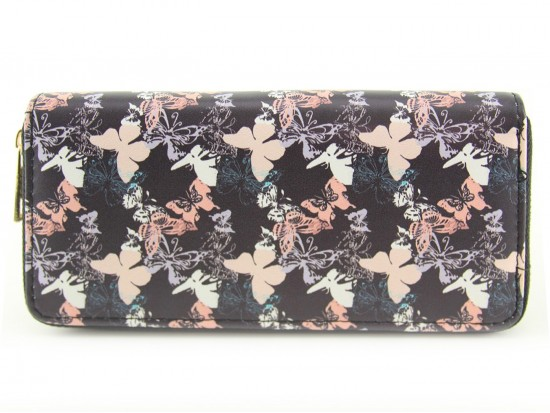 Black Multi Butterfly Pattern Zipper Wallet