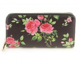 Black Pink Rose Pattern Zipper Wallet