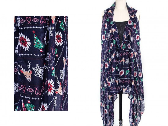 Navy Blue Tribal Xmas Theme Sleeveless Cardigan