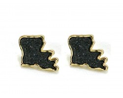 Black Glitter Louisiana State Map Gold Post Earrings
