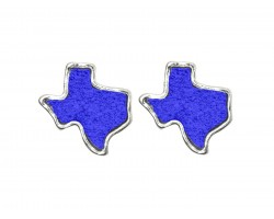 Blue Glitter Texas State Map Silver Post Earrings