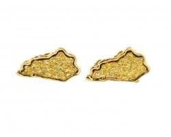 Gold Glitter Kentucky State Map Post Earrings
