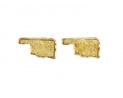 Gold Glitter Oklahoma State Map Post Earrings