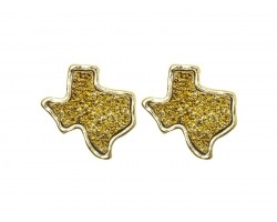 Gold Glitter Texas State Map Post Earrings