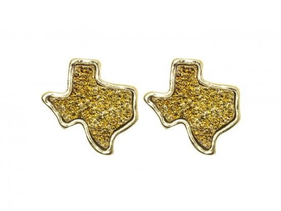 Gold Glitter Texas State Map Post Earrings