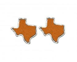 Orange Glitter Texas State Map Silver Post Earrings