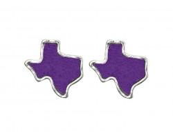 Purple Glitter Texas State Map Silver Post Earrings