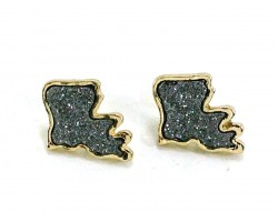 Gray Glitter Louisiana State Map Post Earrings